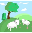 Background tree hill goat nature landscape vector image