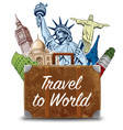 bag with travel destinations-famous places vector image vector image
