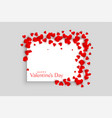 beautiful red hearts valentines day frame design vector image