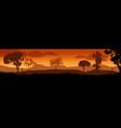 beautiful sunset in savanna landscape vector image vector image
