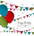 birthday card with balloons and bunting flags vector image vector image