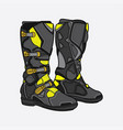 boots motocross black and yellow vector image vector image