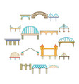 bridge construction icons set cartoon style vector image vector image