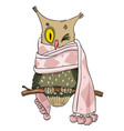 cartoon image of owl wearing scarf vector image vector image