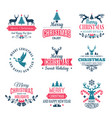 christmas elements holiday labels borders badges vector image