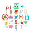 clinic icons set cartoon style vector image