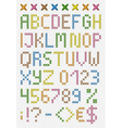Colorful cross stitch uppercase english alphabet vector image vector image