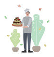cook made birthday cake flat vector image