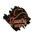 country music watercolor logo cowboy hat vector image