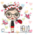 cute cartoon girl with a ladybug vector image vector image