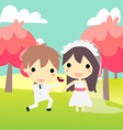 cute couple propose in weddinds suit vector image