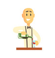 elegant bartender man character standing at the vector image vector image