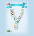 floral letter y with blue ribbon and three doves vector image vector image