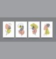 flower line art minimal flat style cards set vector image vector image
