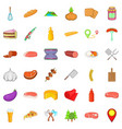 food for barbecue icons set cartoon style vector image vector image