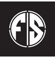 fs logo initial with circle line cut design vector image vector image