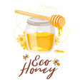 glass honey jar eco organic vector image vector image