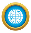 globe icon blue isolated vector image vector image