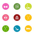 handicapped people icons set flat style vector image vector image