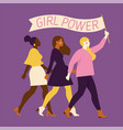 happy women or girls standing together and holding vector image vector image