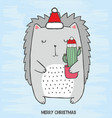 hedgehog with cactus in his hands vector image
