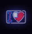 i love usa slogan neon sign night bright vector image