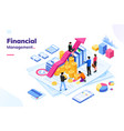 isometric office with financial people and money vector image