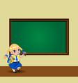 kawaii schoolgirl with braids standing near vector image vector image