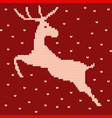knitted christmas jumping reindeer pattern red vector image vector image