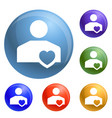 like friend icons set vector image vector image