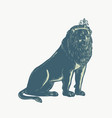 lion wearing tiara sitting scratchboard vector image