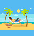 man lying on hammock notebook tropical cocktail vector image vector image