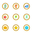 micro organism icons set cartoon style vector image vector image