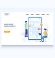 mobile app development website landing page vector image