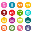 multimedia internet icons set colorful circles vector image vector image
