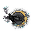 music design with crow and moon vector image vector image