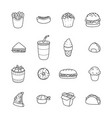set of cartoon doodle icons junk food vector image vector image