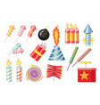 set of firecrackers pyrotechnics and fireworks vector image