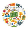 soccer or european football flat icons set vector image vector image