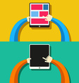 Tablet PC in hands Flat style vector image vector image