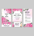 template for wedding invitation peony flowers vector image vector image
