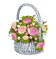 vintage basket of flowers isolated on white vector image vector image