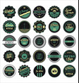 vintage labels black and green set vector image vector image
