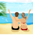 young couple at tropical beach with arms up vector image vector image