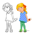 Little girl with a doll vector image