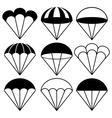 Parachute Icons Set vector image
