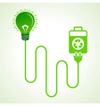 Light bulb charged by a eco cell concept vector image