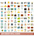 100 credit skill icons set flat style vector image vector image