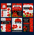 anzac day 25 april poppy flowers posters vector image vector image