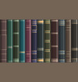 background from old vintage books on a bookshelf vector image vector image